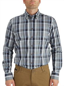 Paul Costelloe Button Down Grey Brushed Check Shirt