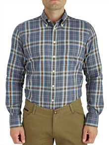Paul Costelloe Button Down Blue Brushed Check Shirt