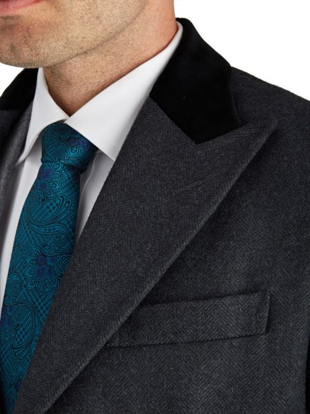 Paul Costelloe Charcoal Chadwick Herringbone Coat