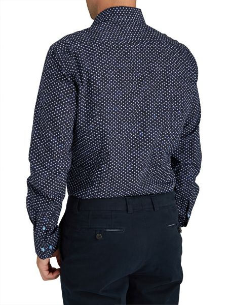 Baumler Navy Butterfly Print Single Cuff Shirt