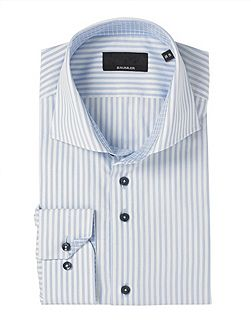 Tailored Blue Stripe Double Cuff Shirt