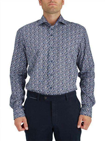 Baumler Navy Bubbles Print Single Cuff Shirt