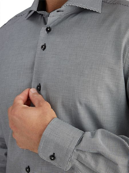 Baumler Grey Micro Print Single Cuff Shirt