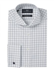 Paul Costelloe Modern Navy Windowpane Check Shirt
