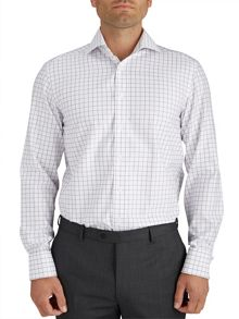 Paul Costelloe Modern Plum Windowpane Check Shirt