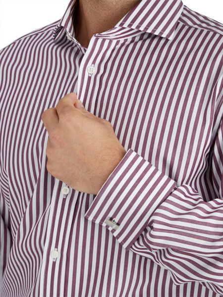 Paul Costelloe Modern Plum Bengal Stripe Shirt