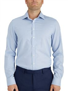 Slim Fit Blue Micro Weave Shirt