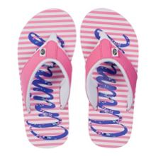 Girls swish logo flip flops