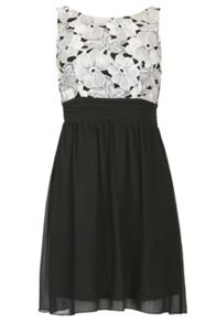 Gathered Floral Lace Dress