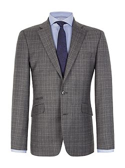Check Notch Collar Tailored Fit Suit Jacket