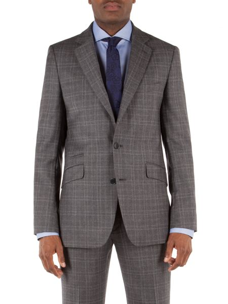 Alexandre of England Check Notch Collar Tailored Fit Suit Jacket
