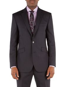 Striped Notch Collar Tailored Fit Suit Jacket
