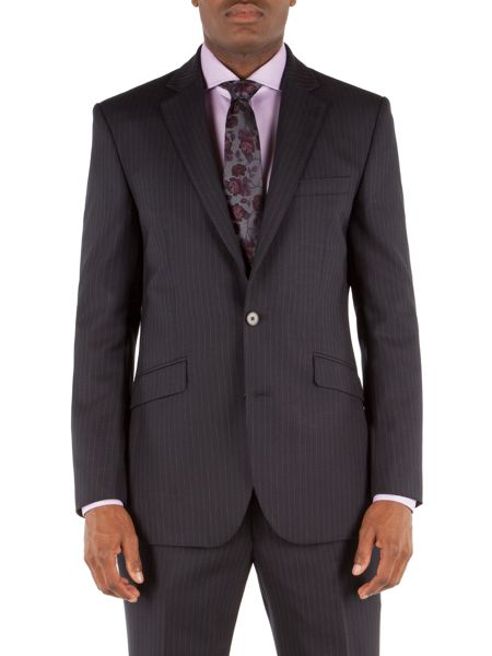 Alexandre of England Striped Notch Collar Tailored Fit Suit Jacket
