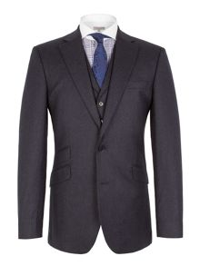 Plain Notch Collar Tailored Fit Suit Jacket