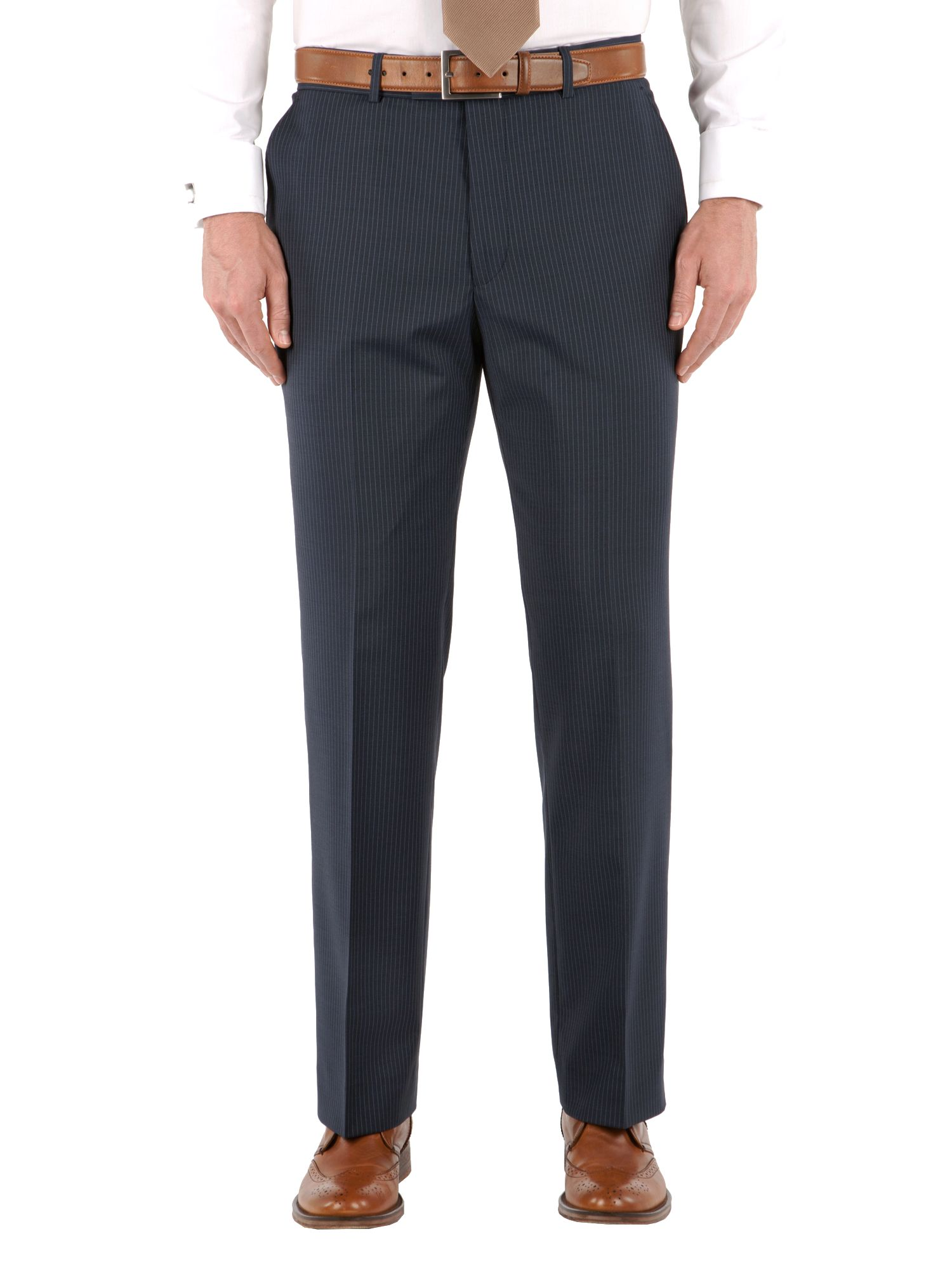 Stripe flat front trousers