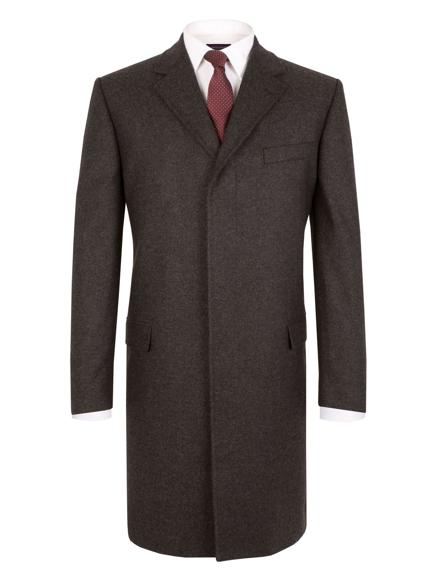 Mens Pierre Cardin Herringbone Formal Button Overcoat $107.50 AT vintagedancer.com