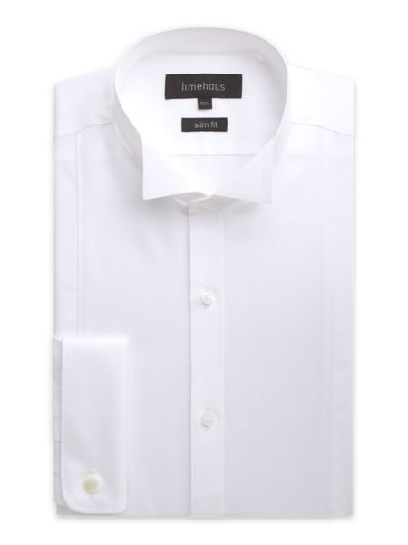Limehaus Plain Slim Fit Long Sleeve Wing Collar Shirt