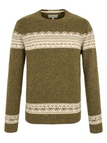 Farsley panelled fairisle knit jumper