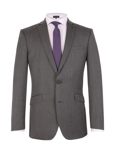 Racing Green Herringbone Notch Collar Tailored Fit Suit Jacket