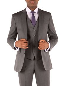 Herringbone Notch Collar Tailored Fit Suit Jacket