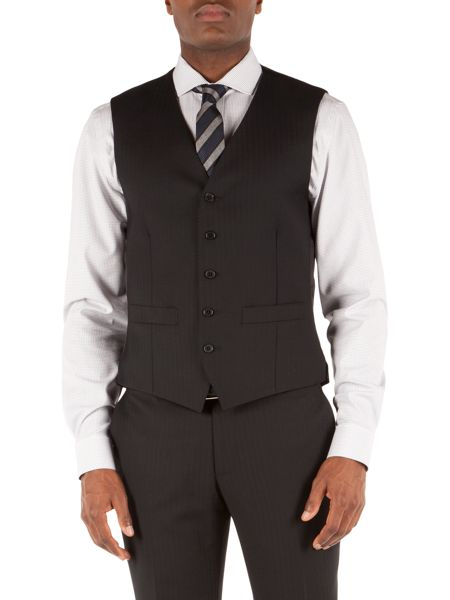 Racing Green Herringbone Tailored Fit Waistcoat