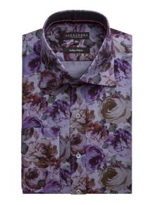 Alexandre of England Print Tailored Fit Long Sleeve Classic Collar Shi