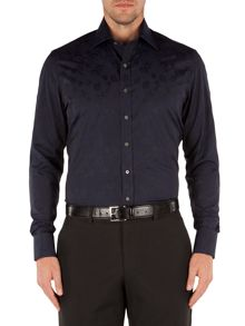 Alexandre of England Jacquard Tailored Fit Long Sleeve Shirt