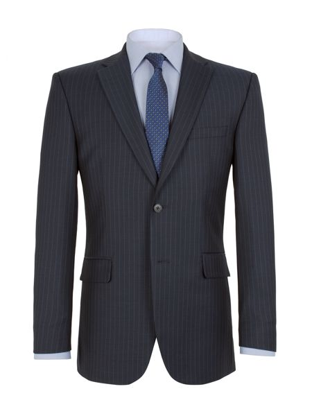 Aston & Gunn Twill Striped Notch Collar Suit Jacket
