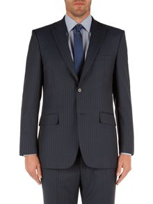 Twill Striped Notch Collar Suit Jacket