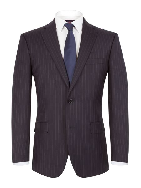 Pierre Cardin Striped Notch Collar Classic Fit Suit Jacket