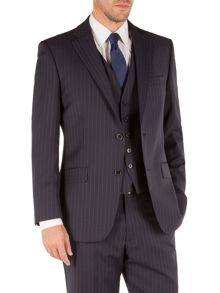 Striped Notch Collar Classic Fit Suit Jacket