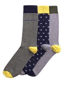 Agnes pk 3 multi design sock
