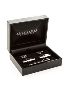 Metal Tie Bar And Cufflinks Set