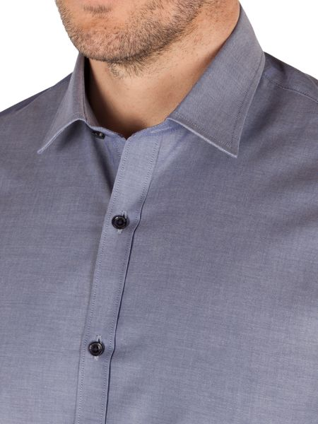 Alexandre of England Chambray Slim Fit Long Sleeve Formal Shirt