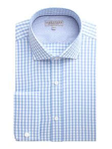 Gingham Twill Tailored Fit Formal Shirt