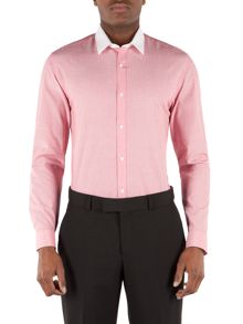Limehaus Plain Slim Fit End On End Formal Shirt