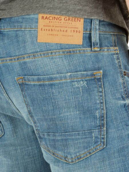 Racing Green Marr Slim Fit Blue Distressed Wash Jean