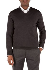 Plain V Neck Knit Jumper