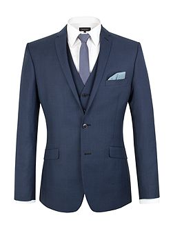 Check Notch Collar Slim Fit Suit Jacket