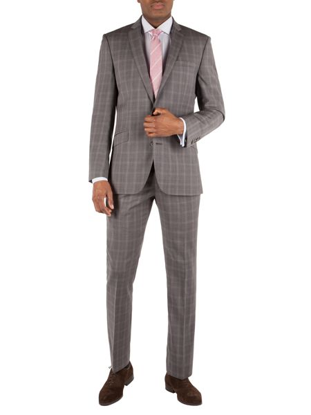 Racing Green Check Notch Collar Tailored Fit Suit Jacket
