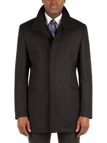 Alexandre of England Check Funnel Neck Overcoat