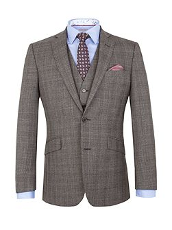 Wool Check Tailored Fit Suit Jacket