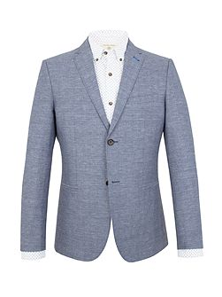 Webster blue check linen blend blazer