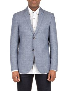 Racing Green Webster blue check linen blend blazer