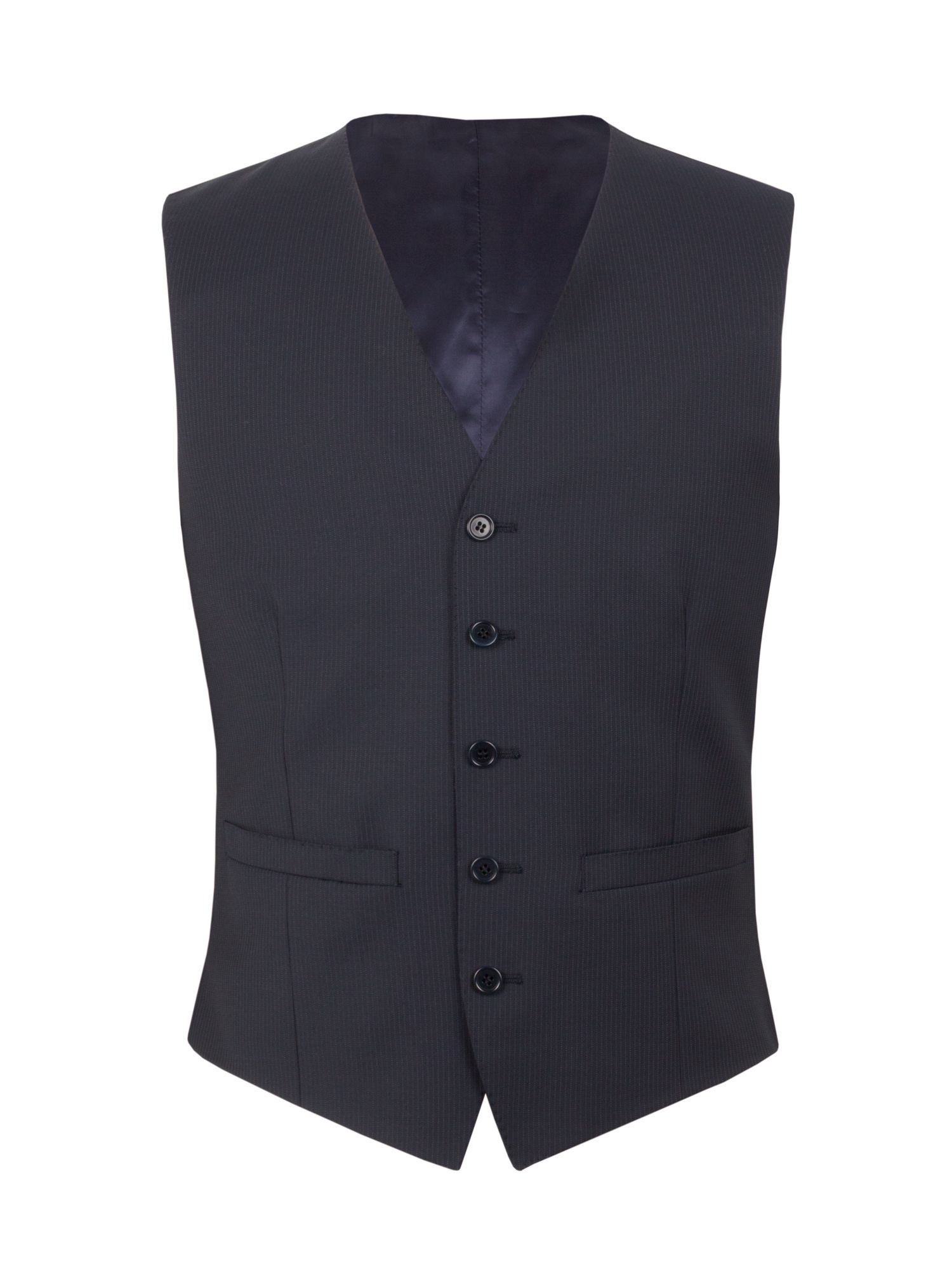 Mens Alexandre of England Bedford stripe tailored waistcoat Navy