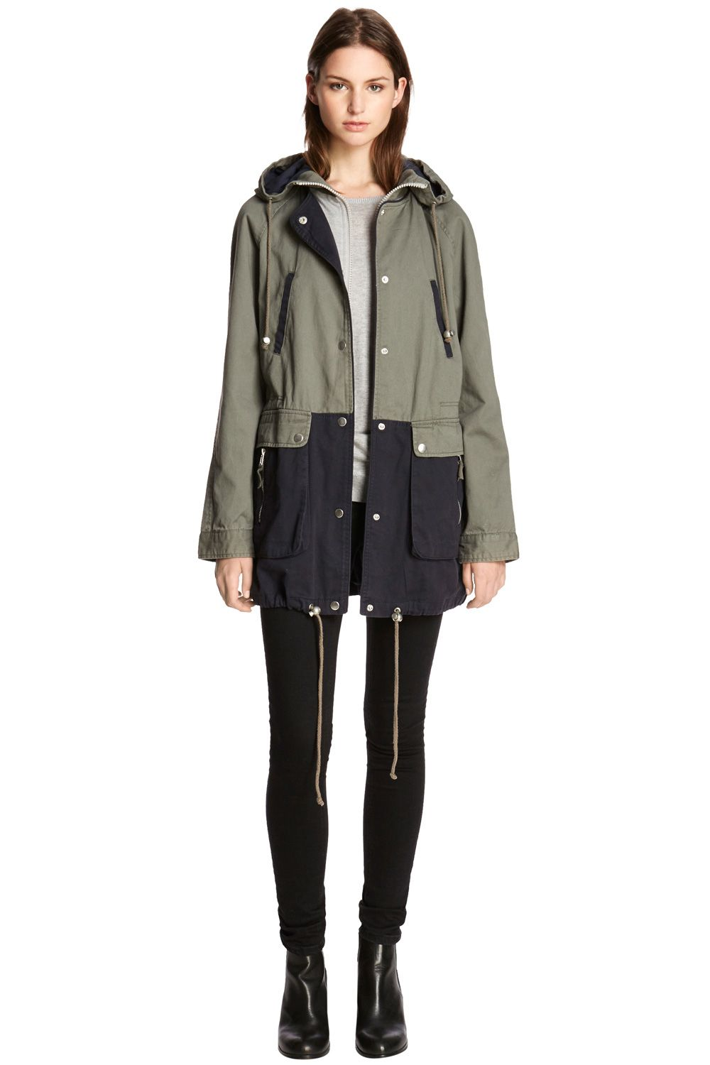 Hooded Colour Block Parka Coat