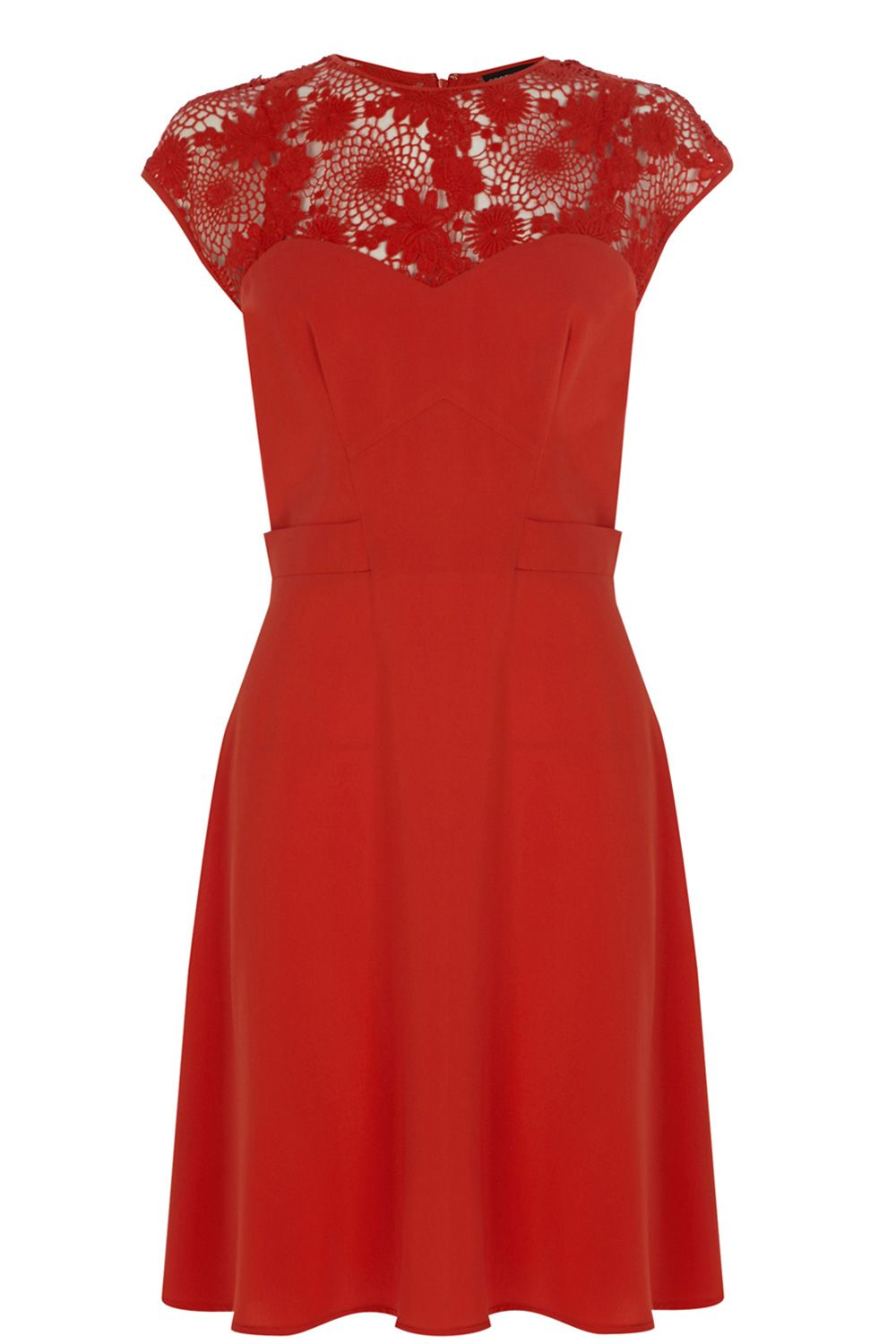 Lace Yoke Crepe Skater Dress