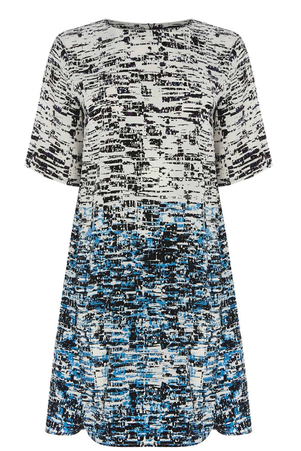 Border Texture Print Shift Dress