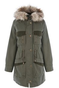 Detachable Contrast Pocket Parka