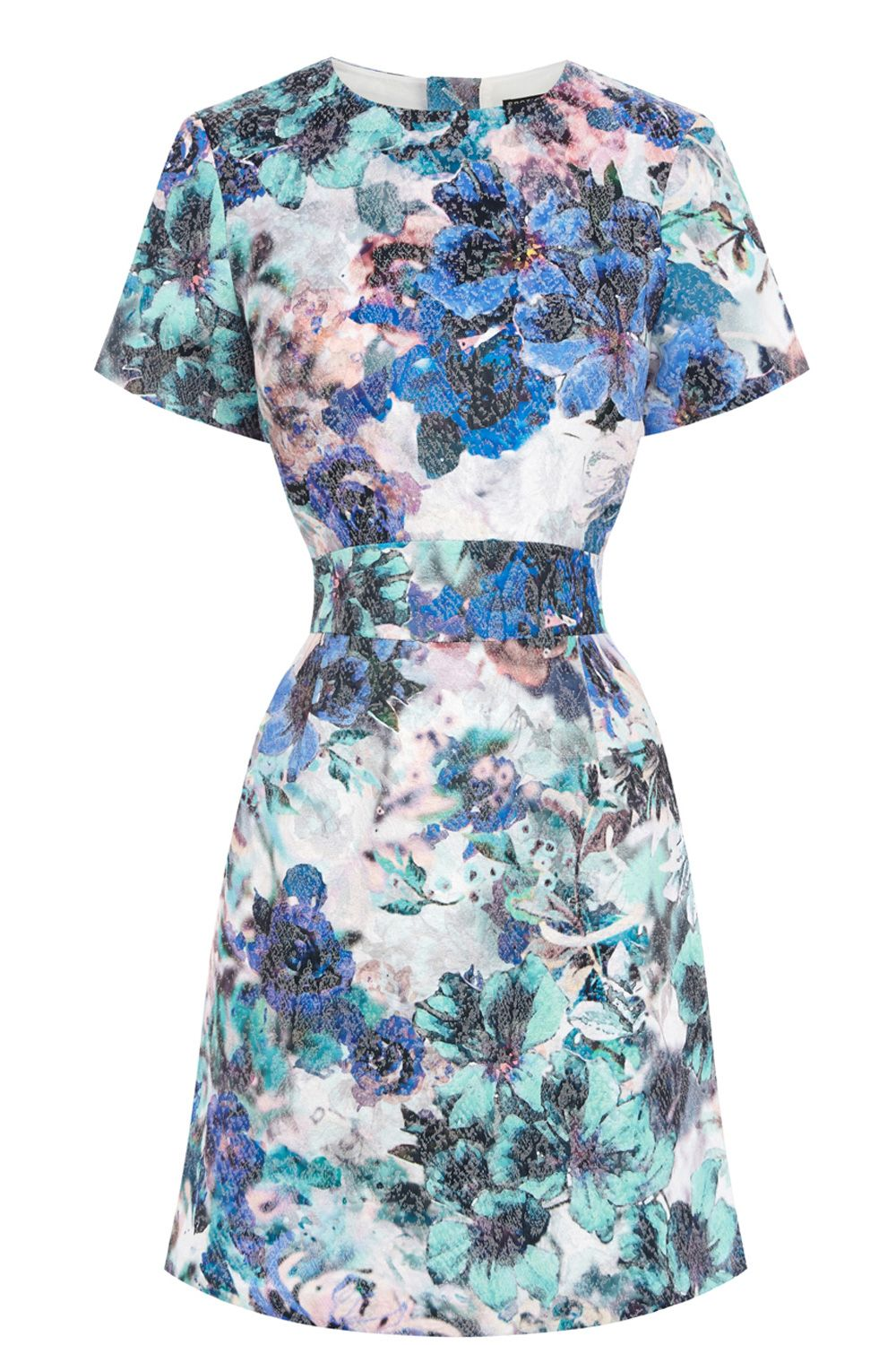 Printed jacquard shift dress